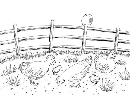 Chicken hen farm bird yard graphic black white landscape sketch illustration vector Foto de archivo - 134805249