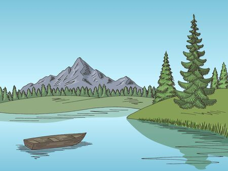Mountain lake graphic color landscape sketch illustration vector
