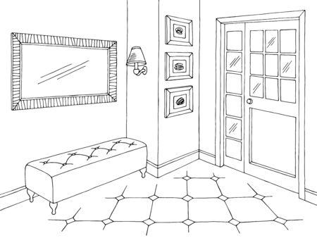 Hallway graphic black white home interior sketch illustration vector Vetores