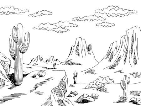 Prairie graphique noir blanc sauvage ouest désert paysage croquis illustration vecteur