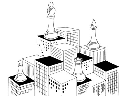 City chess graphic black white cityscape skyline sketch illustration vector Vettoriali