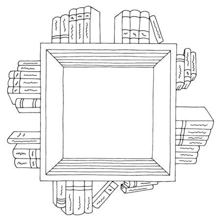 Book shelf square graphic black white isolated sketch illustration vector Archivio Fotografico - 135945004
