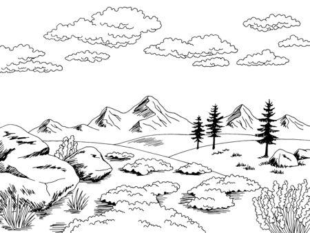 Tundra graphic black white landscape sketch illustration vector