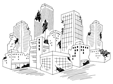 Ruined city graphic black white cityscape skyline sketch illustration vector Illusztráció