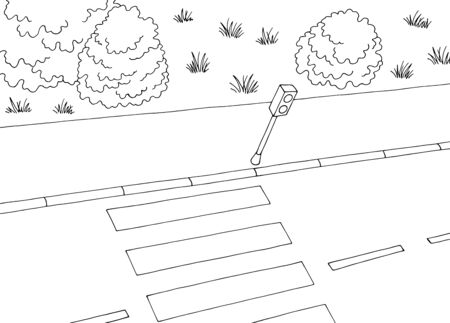 Crosswalk view from directly above top street road graphic black white landscape sketch illustration vector