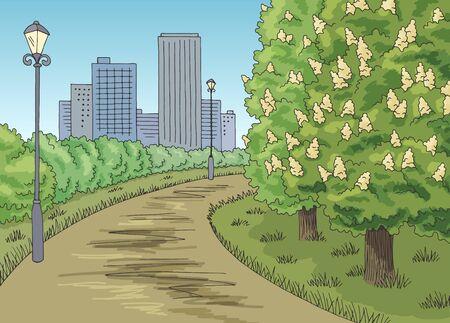 Park graphic color chestnut tree blooms landscape sketch illustration vector Ilustração