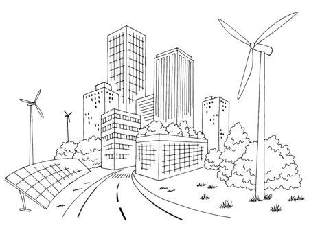 Eco city graphic black white cityscape skyline sketch illustration vector