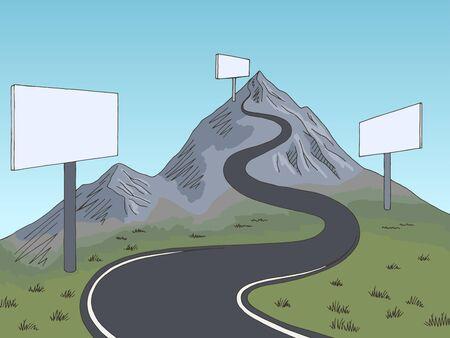 Mountain road billboard graphic color landscape sketch illustration vector