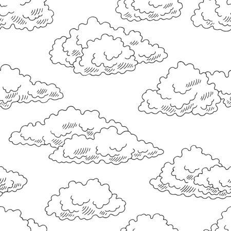 Nuages graphiques noir blanc transparente motif croquis fond illustration vecteur