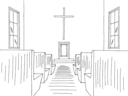 Church interior graphic black white sketch illustration vector