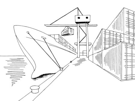 Port loading dry cargo ship graphic black white sea landscape sketch illustration vector Banque d'images - 138195320