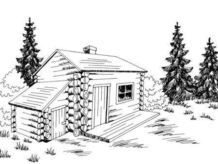 Illustrazione vettoriale di schizzo di paesaggio bianco nero grafico della casa della cabina di legno
