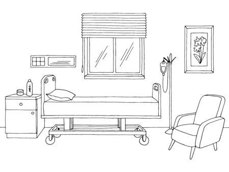 Illustrazione vettoriale di schizzo interno bianco nero grafico del reparto ospedaliero Vettoriali