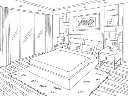 Chambre à coucher graphique noir blanc intérieur maison esquisse illustration vectorielle