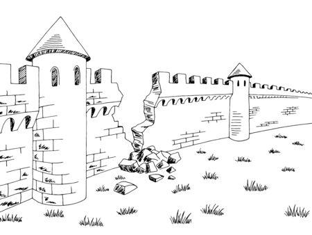 Broken wall medieval castle graphic black white sketch illustration vector 版權商用圖片 - 141593142