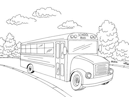 School bus graphic black white street landscape sketch illustration vector