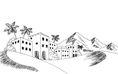 Town desert graphic black white landscape sketch illustration vector