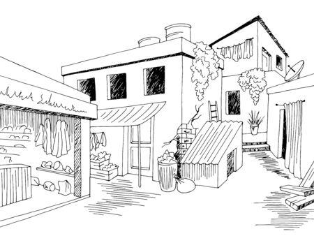 Slum old street graphic black white town landscape sketch illustration vector