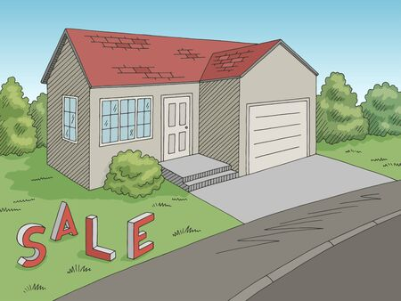 House for sale exterior graphic color sketch illustration vector