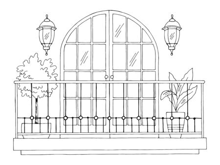 Balcony exterior graphic black white sketch illustration vector