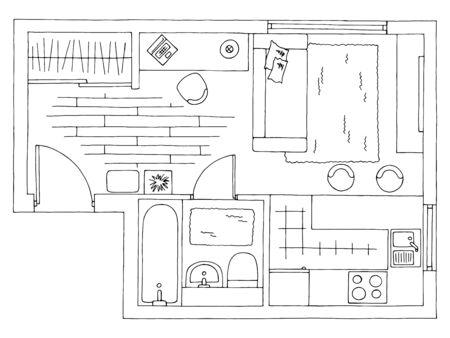Maison plan architecture intérieur graphique noir blanc croquis illustration vecteur