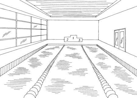 Swimming pool interior graphic black white sketch illustration vector Vector Illustratie