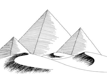 Desert pyramid graphic black white landscape sketch illustration vector
