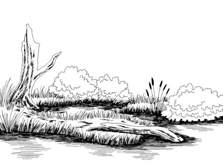 Bog swamp graphic black white landscape sketch illustration vector
