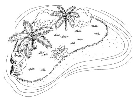 Island top aerial view graphic black white landscape sketch illustration vector