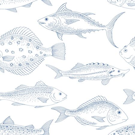 Fish graphic color seamless pattern background sketch illustration vector