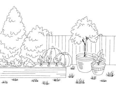 Gärtnerei Grafik schwarz weiß Landschaft Skizze Illustration Vektor