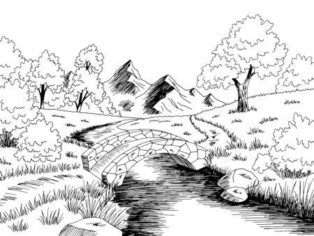 Bridge graphic river black white landscape sketch illustration vector 向量圖像