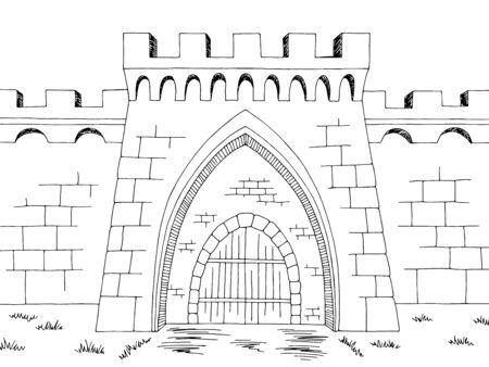 Castle gate graphic black white landscape sketch illustration vector