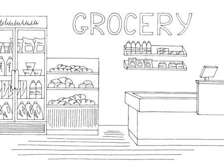 Épicerie magasin intérieur noir blanc graphique croquis illustration vecteur