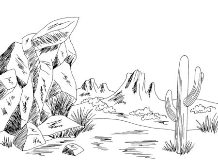 Prairie graphic black white wild west desert landscape sketch illustration vector