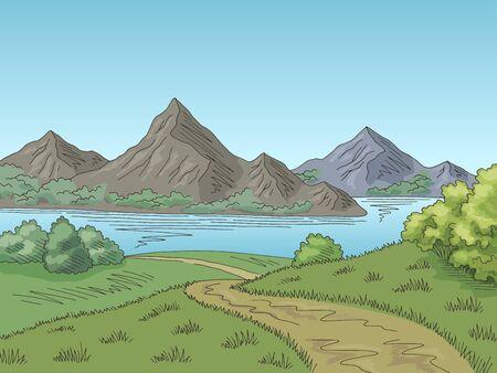 Vector de ilustración de bosquejo de paisaje de color gráfico de carretera de lago de montaña Ilustración de vector