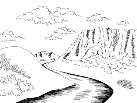 Plateau tableland mountain river graphic black white landscape sketch illustration vector Ilustração