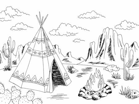 Wigwam american indian house exterior graphic black white landscape sketch illustration vector