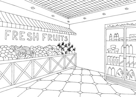 Grocery interior store shop black white graphic sketch illustration vector Ilustracja