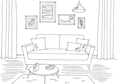 Living room graphic black white home interior sketch illustration vector