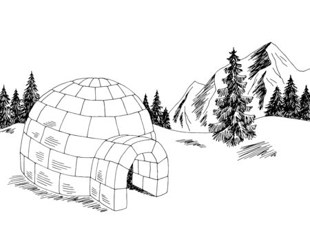Igloo winter mountain landscape graphic black white sketch illustration vector Ilustracja