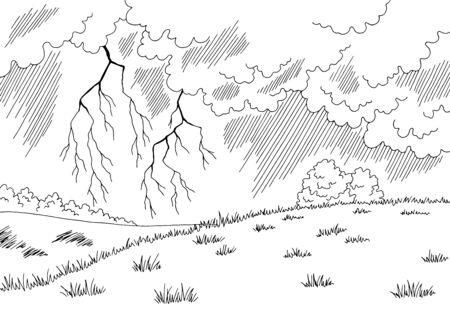 Thunderstorm graphic black white landscape sketch illustration vector