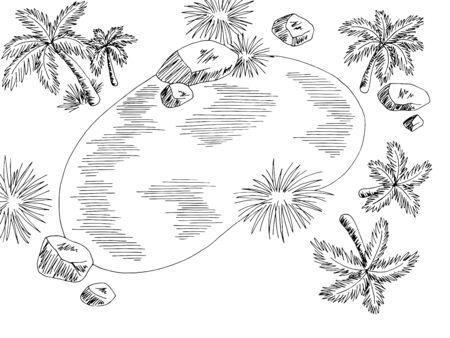 Oasis aerial top view from above desert graphic black white landscape illustration vector