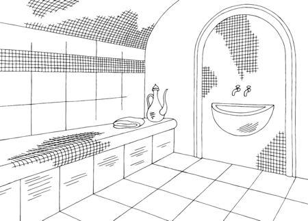 Hammam sauna bathhouse graphic interior black white sketch illustration vector