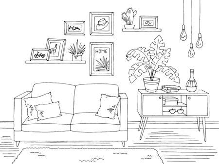 Salon graphique noir blanc maison intérieur croquis illustration vecteur