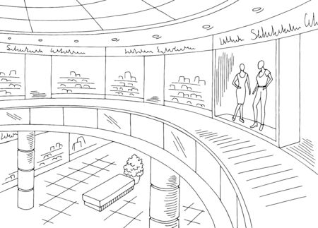 Shopping mall graphic black white interior sketch illustration vector Иллюстрация