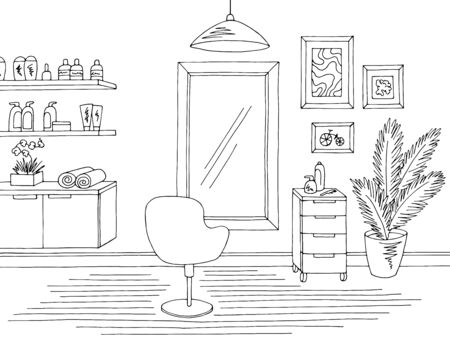 Hair salon graphic black white interior sketch illustration vector