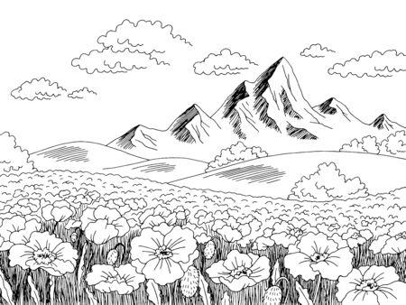 Poppy flower field graphic black white landscape sketch illustration vector
