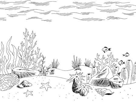 Graphique sous-marin mer noir blanc croquis illustration vecteur Vecteurs