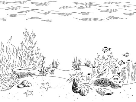 Underwater graphic sea black white sketch illustration vector